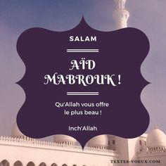 Aid El Kebir messages bonne fête e- sms Aïd al-Adha pour famille et amis Message Aid, Aid Adha, Eid Mubarak Messages, Eid Mubarek, Eid Adha Mubarak, Allah, Detroit, Muslim