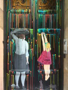 www.demaitecreaciones.blogspot.com.es Pintura de un portal de Barcelona