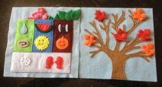 Felt activity book page: changing seasons. Spring flowers, green summer leaves, and fall changing leaves with snaps to put on the tree. Season summary pocket to store pieces.
