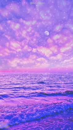 LIVE WALLPAPER |MOON | NIGHT | SEA | STARS | BLUE | PINK| TIKTOK | By @livtorresec