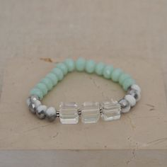 Spring Cube II Bracelet / Clear Cube / Mixed Silver & White Crystal / Mint Crystal / Everyday / Stretch / Unique / Gift for Her / by saltrabbit on Etsy