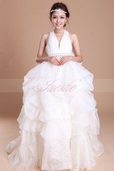 Dramatic Pick-up Ball Gown V-neck Organza Wedding Dress with Big Bow JSWD0053