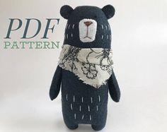 Bear Sewing PATTERN, Teddy Bear pattern, PDF Pattern, Felt Animals, Woodland Animals, Stuffed Animal Pattern