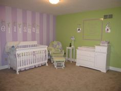 A Lavender and Green Baby Girls Room, A vibrant, yet sweet, nursery for a little girl. The space is filled with lilac and lavender stripes, lime-green walls and grass-colored polka dots. Wall lettering and handmade picture frames adorn the walls., Nurseries Design