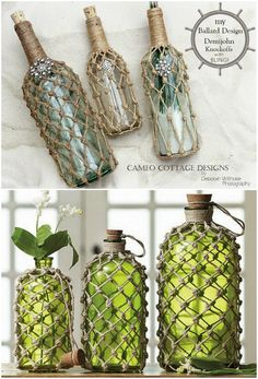 Jute Knotted Bottles And Lanterns Video Instructions These Jute Knotted Bottles are easy to recreate and look great! Watch the video and see how you can add a designer touch to bottles and jars. Glass Bottle Crafts, Diy Bottle, Bottle Art, Bottle Labels, Diy Home Crafts, Diy Crafts To Sell, Yarn Bottles, Twine Crafts, Macrame Patterns