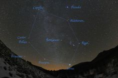 The Winter Hexagon over Stagecoach, Colorado. The six stars that make up the winter hexagon are;aldebaran, cappella, castor, procyon, rigel and sirius