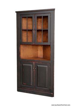 Like The Dark Stain And Reddish Distressing Tongue Groove Wood Back Corner China CabinetsCorner