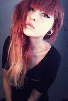 red hair n gauges Pastel Blue Hair, Dyed Hair Blue, Lilac Hair, Green Hair, Ombre Hair, Goth Hair, Emo Hair, Grunge Hair, Kawaii Hairstyles
