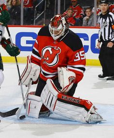 NEWARK, NJ - OCTOBER 22: Cory Schneider #35 of the New Jersey Devils makes a save against the Minnesota Wild during the game at Prudential Center on October 22, 2016 in Newark, New Jersey. (Photo by Andy Marlin/NHLI via Getty Images)