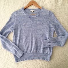 GAP Blue Sweatshirt Sweater Sweatshirt style sweater in a lovely heathered blue. One small pulled thread on a sleeve, see photo. Size XS. GAP Sweaters