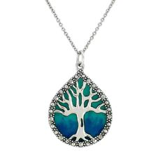 "Sterling Silver Marcasite and Blue Epoxy Tree of Life Pendant Necklace,18"": $42.00"