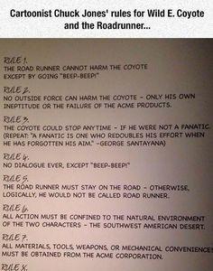 Original Rules For Wile E. Coyote http://ibeebz.com