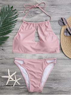 Keyhole Cut Out Halter Bikini Set - PINK M