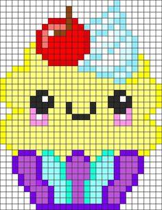 Kawaii Cupcake Perler Bead Pattern / Bead Sprite - Sprite - Ideas of Sprite Melty Bead Patterns, Pearler Bead Patterns, Kandi Patterns, Perler Patterns, Beading Patterns, Color Patterns, Perler Bead Designs, Perler Bead Art, Perler Beads