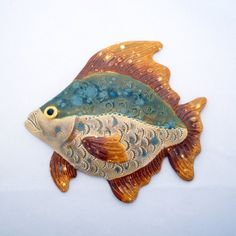Items similar to Ceramic fish wall decoration on Etsy Clay Wall Art, Fish Wall Art, Fish Art, Fish Sculpture, Wall Sculptures, Clay Fish, Wood Fish, Biscuit, Painting On Wood