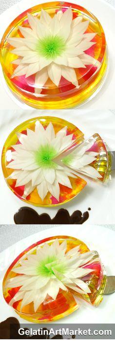 Easy flowers drawn in clear gelatin. Learn how to make these delicious Gelatin Art Desserts: GelatinArtMarket.com