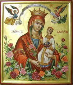 The virgin Mary Religious Icons, Religious Art, Hail Holy Queen, Religion, Sign Of The Cross, Queen Of Heaven, Russian Icons, Blessed Mother Mary, Byzantine Icons