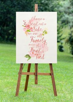 PRINTABLE Large Seating Wedding Sign // Choose A Seat, Not A Side // Digital Wedding Sign // Romantic Garden Wedding