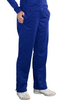 Sport-Tek Ladies Tricot Track Pant. LPST91 XXX-Large True Royal Made by #Sport-Tek Color #True Royal. 100% polyester tricot.. Soft-brushed backing.. Flatlock stitching throughout.. Side seam pockets.. No back pockets.
