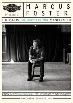 marcus foster ruby lounge mancheser november 2012 gig poster