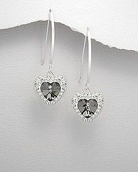Black Crystal Heart Silver Earrings