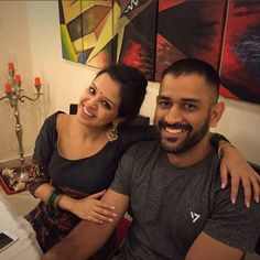 MS Dhoni with his wife Sakshi during Diwali celebrations . Ms Dhoni Wife, Ziva Dhoni, Dhoni Quotes, Ms Dhoni Wallpapers, Holi Wishes, Cricket Wallpapers, Diwali Celebration, Latest Cricket News, Mahi Mahi