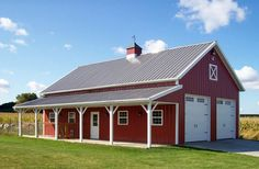 Pole barn house plans and Metal buildings with brick. Pole Barn Plans, Building A Pole Barn, Metal Building Kits, Barn House Plans, Metal Building Homes, Building A Shed, Building Design, Building Ideas, Building Systems