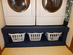 DIY Laundry pedestal??? I've always hated how low the dryer door is - here is my solution! plus added storage and when socks fall out when you're pulling out shirts, they can fall into the now empty baskets.--When I get my new washer & dryer I will have to do this
