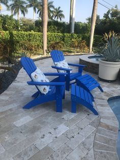 Nautical Curveback Adirondack Chairs by POLYWOOD® Homemade Bleach, Fire Pit Table, Adirondack Chairs, Outdoor Furniture, Outdoor Decor, Sun Lounger, Nautical, Relax, Blue