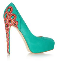 wow.  Brian Atwood Embroidered Suede Pump