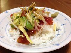 2/8 マグロ漬け、アボカド丼 ミョウガ、生姜、わさび
