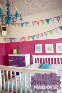 Girls Fancy Bedroom Makeover with pink planked walls, fabric pennant banner, stenciled ceiling, and a great DIY gallery art wall KristenDuke.com home decor