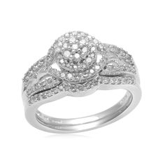 Sterling Silver 1/2ct Cut Round VVS1 Diamond Solitaire w/Accents Bridal Ring Set #AffinityJewelry #BridalSet