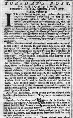 A London newspaper in the fall of 1793 reports the death of the Queen of France (Via Tiny-Librarian)