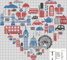 London heart cross stitch