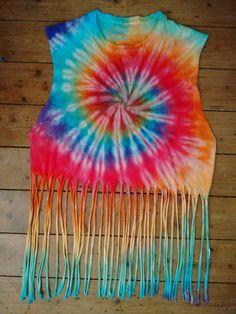 Tie Dye Spiral Fringed Tshirt #ginastiedye #tiedye #fringing #boho #hippy #festival