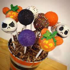 Halloween at Disneyland themed cake pops. Jack Skellington and Pumpkin Mickey Mouse. See this Instagram photo by @kimssweetkarma • 153 likes