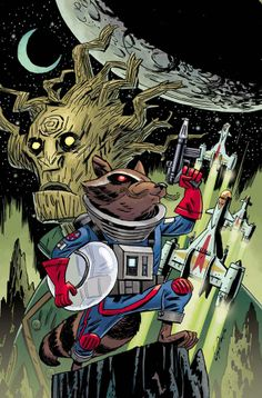 Guardans of the Galaxy - Rocket Raccoon and Groot by Guy Davis *