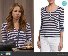 b0380f0b Sofia's navy and white striped henley top on Young and Hungry. Outfit  Details: https