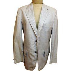 60's Seersucker Men's Cotton Sport Coat Jacket Size 38 R by Sir Walter