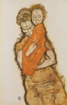 에곤 실레 <어머니와 아기> 1914년 작품. 에곤 실레의 작품엔 어머니에 대해 분노의 표출을 한 작품이 많다. 이는 어머니가 아버지와 자신에게 애정이 없다고 생각해서 인데, 이 작품도 어머니가 아기를 못마땅하게 여겨 증오한다는 것을 아기가 알아차리는 모습을 묘사하고 있다. 이는 출생 후의 문제만이 아니라 태내에서 어머니와 태아가 교감하는 시기에 어떤 문제가 있어서 그 영향이 태아에게 미쳤기 때문으로 보인다.