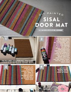 I used spray paint to personalize this outdoor mat for Fall, it adds a nice pop of color to my front porch and matches my front door and other decorations.