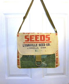 Lynnville Seed Co. Iowa seed sack upcycled by LoriesBags on Etsy