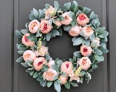 Spring Wreaths for Front Door Full Floral Wreath Spring Wreath Spring Door Wreath Spring Peony Wreath Front Door Wreaths Lambs Ear Double Door Wreaths, Spring Front Door Wreaths, Spring Wreaths, Easter Wreaths, Baby Wreaths, Mesh Wreaths, Baby Kranz, Decoracion Low Cost, Silk Peonies