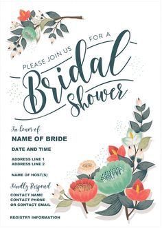 download a free and adorable bridal shower invitation - Free Printable Bridal Shower Invitations Templates