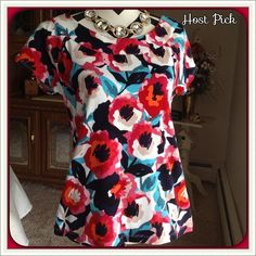 Colorful Top - NWOT Bright, floral print! Perfect for Spring/Summer. NWOT, never worn. 100% cotton Machine was cold, inside out, lay flat to dry.  PayPal  Trades  Holds Rafaella Tops