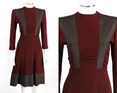 VINTAGE COUTURE c.1940's WWII BURGUNDY & BROWN RAYON CREPE AFTERNOON DAY DRESS S | eBay