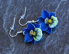 Orchids earrings Polymer clay jewelry Orchid jewelry Dangle earrings Jewelry for women Summer jewelry Blue floral earrings Flowers jewelry