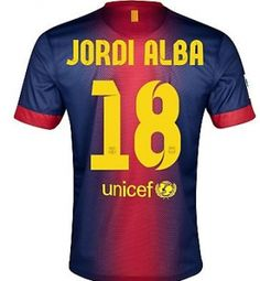 73c28080ba7e3 2012-13 Barcelona Home Shirt (Jordi Alba 18) Barcelona Shirt
