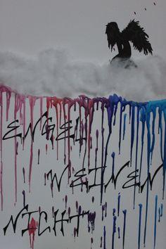 """New canvas art.  """"Angels doesn't cry"""" #canvas #art #new #angel #colour #meltedcrayons #crayons #rain #engel #weinen #nicht #leinwand #engelweinennicht #wachsmalstifte #art #kunst"""